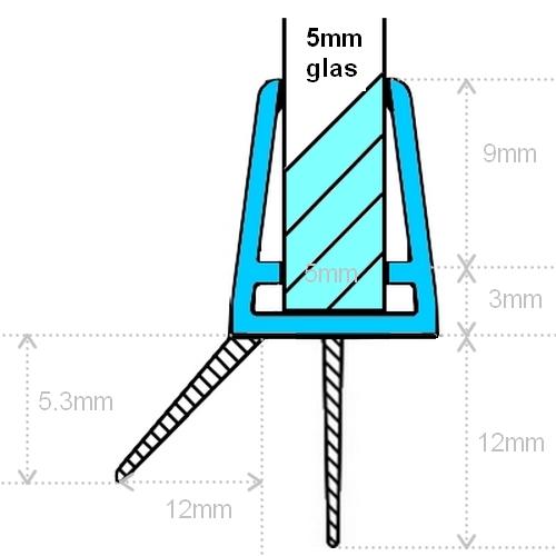 Maattekening Exa-Lent Universal DS011005 - G05021100 helder doucheprofiel 2 flapjes 100cm - 5mm